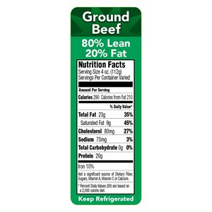 80 / 20 GROUND BEEF NUTRITION PANEL